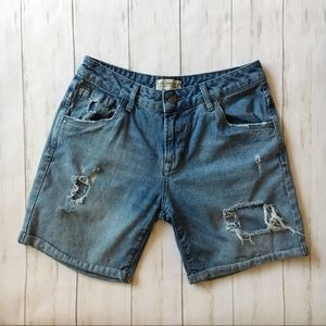 Zara Blue Jean Denim Distressed Mom Shorts